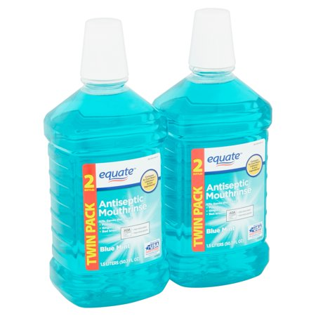 Equate Antiseptic Mouthrinse, Blue Mint, 101.4 fl oz, 2 (Alcohol Antiseptic)