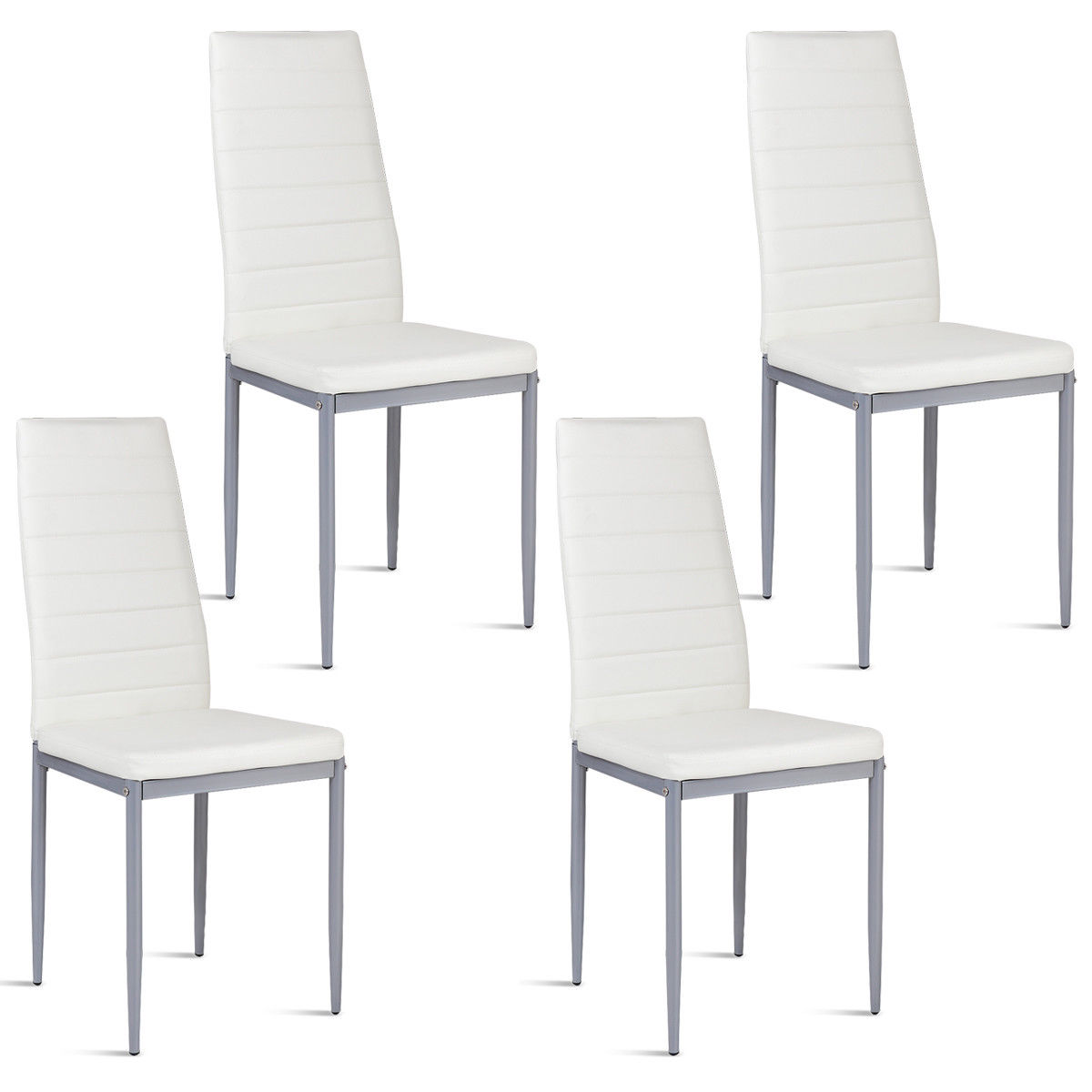Merveilleux White Leather Dining Chairs