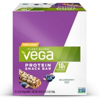 Vega Plant Protein Snack Bar, Blueberry Oat, 10g Protein, 12 Ct