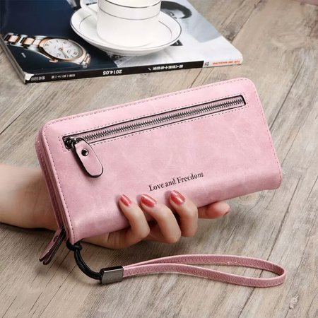 PU Leather Long Wallet Clutch Handbag Zipper Organizer Wristlets Card Cellphone Holder Purse for Women Lady Girls 7.9inch