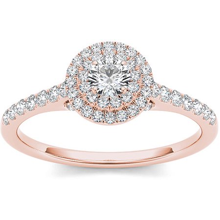 1/2 Carat T.W. Diamond 10kt Rose Gold Double Halo Engagement Ring