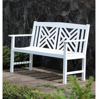 4' Lattice Bench, White