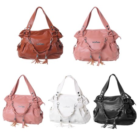 PU Leather Handbag Shoulder Bag Travel Backpack Tote Tassel Large With Zipper For Women Girls Lady - Leather Tassel Tote