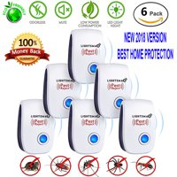 6 Packs [2018 NEW UPGRADED] LIGHTSMAX - Ultrasonic Pest Repeller - Electronic Plug -In Pest Control Ultrasonic - Best Repellent for Cockroach Rodents Flies Roaches Ants Mice Spiders Fleas Indoor