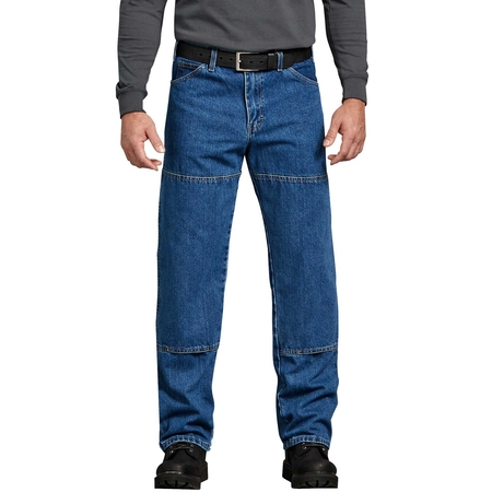 Men's Relaxed Fit Workhorse Double Knee Denim Jean Denim Knee Length Jeans