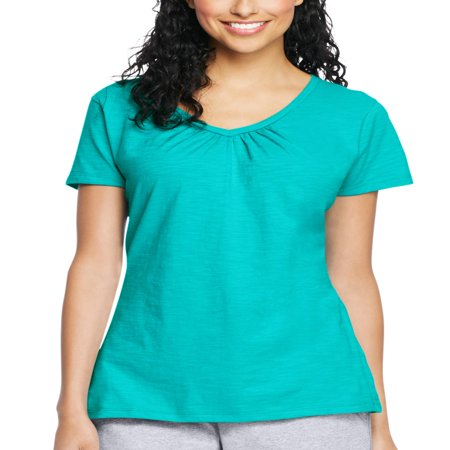 Women's Slub Jersey Shirred V-Neck T Shirt (Hanes Women T-shirts)