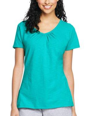 Women's Slub Jersey Shirred V-Neck T Shirt