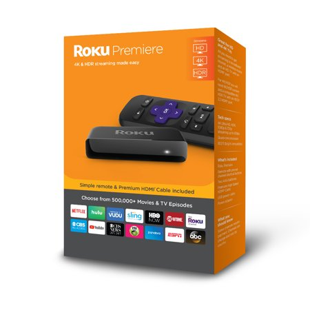 Roku Premiere 4K HDR Streaming Player - WITH 30-DAY FREE TRIAL OF SLING INCLUDING CLOUD DVR ($40+ (Best 4k Kodi Box)