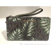 fd2fd0891ae9 MICHAEL KORS PVC PALM LEAF JET SET TRAVEL DOUBLE ZIP WALLET IN BROWN/OLIVE