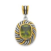 Sterling Silver Gold-plate Antiqued Olive Green CZ Pendant