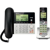 VTech CS6949 DECT 6.0 Expandable Cordless Phone with Answering System and Caller ID, 1 Add'l Handset, Silver/Black