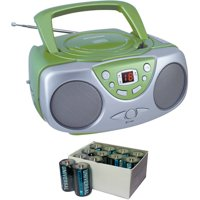 Sylvania SRCD243M Green Portable CD Boom Boxes with AM/FM Radio and UPG D5624/D5324/D5924 Super-Heavy-Duty Battery Value Box (C; 24-Pack)