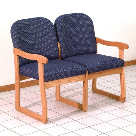 Wooden Mallet DW8-2 Solid Oak Sled Base 2-Seat Sofa