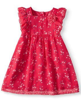 Ruffle Sleeve Patterned Dress (Toddler Girls)