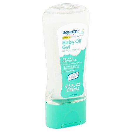 - (2 Pack) Equate Baby Aloe Vera and Vitamin E Hypoallergenic Baby Oil Gel, 6.5 fl oz