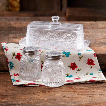 The Pioneer Woman Adeline Glass Butter Dish with Salt & Pepper - Le Creuset Butter Dish