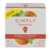 (2 Pack) Summer's Eve Simply Cleansing Cloths, Mandarin Blossom, 14 Ct