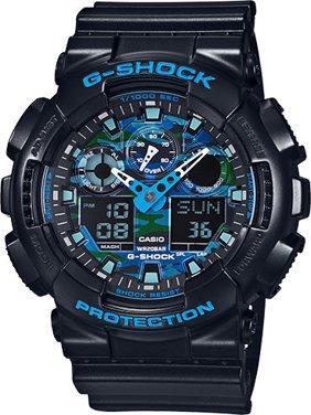 G-Shock Black and Blue Ana-Digi Sports Watch GA100CB-1A