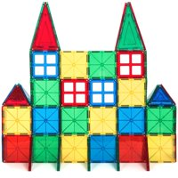 58-Piece Multi Colors Magnetic Block Tiles Educational STEM Toy Building Set w/ Carrying Case