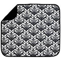 "S&T Microfiber Dish Drying Mat -Black White Damask -16""x18"""