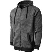 db270fea8a97 Mens Marled Zip Up Jacket Hoodie Brushed Fleece Soft Lightweight Basic  Solid Sweater