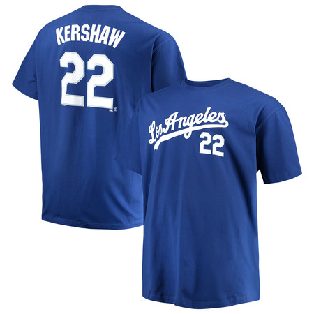 Majestic Scrappers Minor League T-shirt (Men's Majestic Clayton Kershaw Royal Los Angeles Dodgers MLB Name & Number T-Shirt )