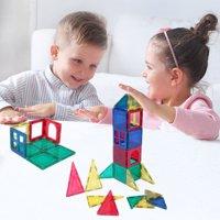 58-Piece Multi Colors Magnetic Blocks Tiles Educational 3-D Buildings STEM Toy Building Set