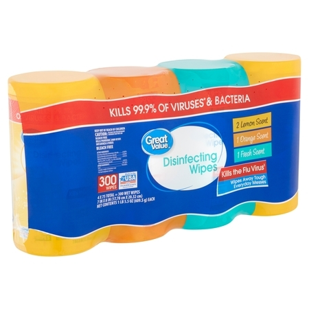 Kitchen Wipe - Great Value Disinfecting Wipes, 1 lb 5.5 oz, 75 count, 4 pack