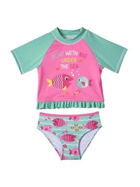 Baby Toddler Girl Fish Short Sleeve Rashguard Tankini Swimsuit, 2pc Set