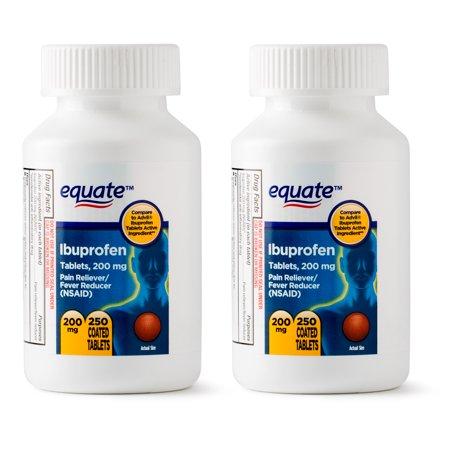 Arthritis Ibuprofen (Equate Ibuprofen Coated Tablets, 200 mg, Twin Pack, 250 Count )