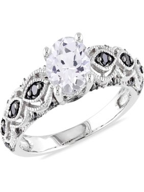 Asteria 1 Carat T.G.W. Created White Sapphire and 1/4 Carat T.W. Black Diamond 10k White Gold Engagement Ring