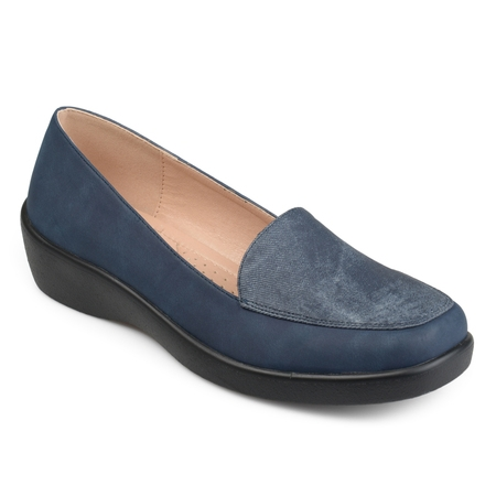 Brinley Co. Women's Comfort Sole Faux Suede Square Toe Loafers