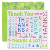 American Greetings Multicolored Script Thank You Cards and Lime Green Envelopes, 50ct