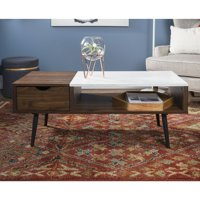 "Manor Park 42"" Mid Century Modern Wood and Faux Marble Coffee Table - Dark Walnut"