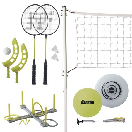 Franklin Sports Fun 5 Combo Set - Badminton - Volleyball - Ring Toss - Flip Toss - Flying Disc](Badminton Sets)