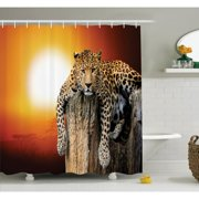 Ambesonne Animal Leopard On Tree Shower Curtain Set