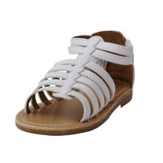 acf94d378c103 Stepping Stones Little Girls Gladiator White Sandals Girls Strappy Sandals  For Casual or Dress Size 5