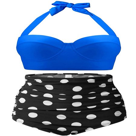 High Waisted Swimsuit, Fascigirl Vintage Polka Women Swimwear Bathing Suit Bikini Set ()