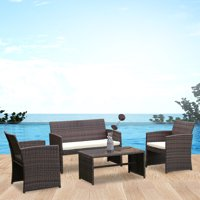 Costway 4 PCS Outdoor Patio Rattan Wicker Furniture Set Table Sofa Cushioned Garden Deck