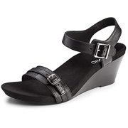 93a6875e0b68 Vionic Women s Noble Laurie Leather Ankle-Strap Wedged Sandals Black Size  11.0M