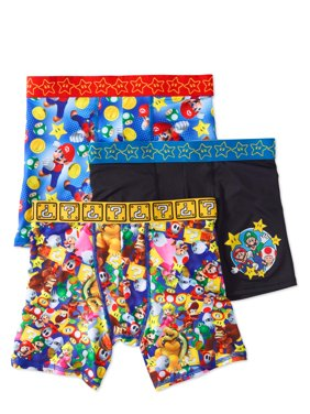 Mario Bros. Boys Athletic Boxer Briefs, 3 Pair