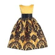 abc8f8bd7 Little Girls Yellow Black Damask Satin Sleeveless Special Occasion Dress