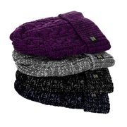 Women Insulated Thermal Fleece Lined Knit Cuffed Fold over Beanies Winter Hat