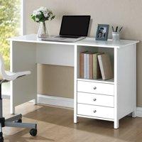 Techni Mobili Contempo Desk with 3 Storage Drawers, White