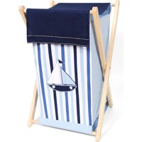 Bacati - Little Sailor Hamper with Cotton Percale cover, mesh liner and natural color Natural Color Wooden frame