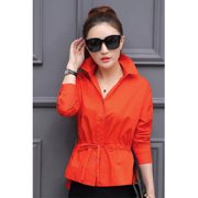 Women Collar Neck Casual Shirt and Blouse Orange