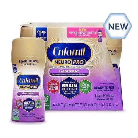 Enfamil Gentlease NeuroPro Baby Formula, 6 Ready-to-Use 8 fl oz Bottles