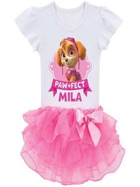 Personalized PAW Patrol Paw-fect Skye Toddler Girls' Tutu T-Shirt