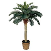 Nearly Natural 4 ft. Artificial Sago Silk Palm Tree, Green