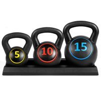 Best Choice Products 3-Piece HDPE Kettlebell Exercise Fitness Weight Set for Full Body Workout w/ 5lb, 10lb, 15lb Weights, Wide Grips, Base Rack - Black